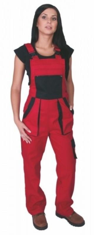 Dámske nohavice SABINA s náprsenkou červené