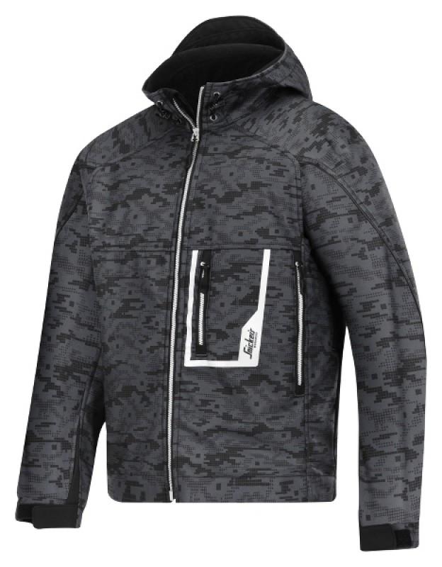 Bunda Soft Shell s kapucňou 1219, ocelovo šedá - čierna