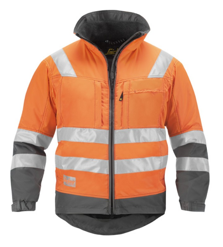 Bunda zimná, reflex EN 471 tr.3 1333, oranžová reflexná - ocelovo šedá
