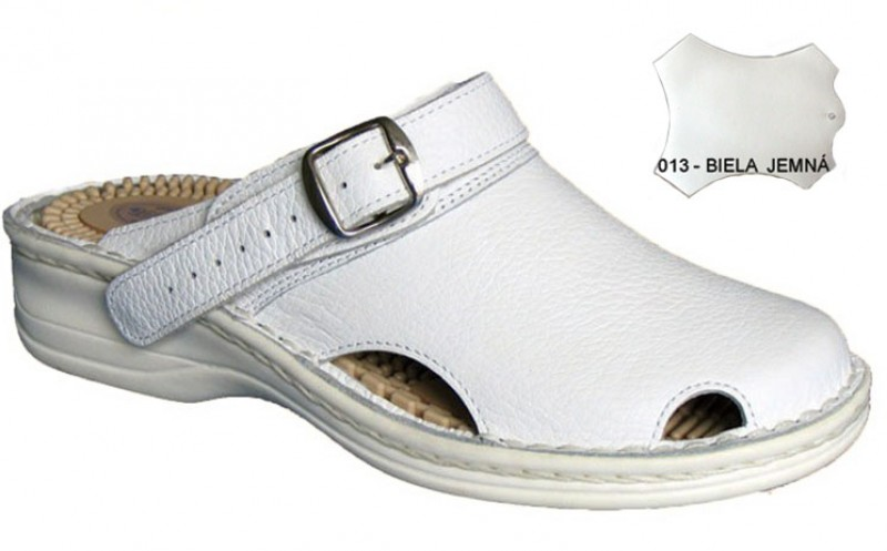 Dámske ortopedické šlapky s prackou 05-506/P, biela hladká - 011