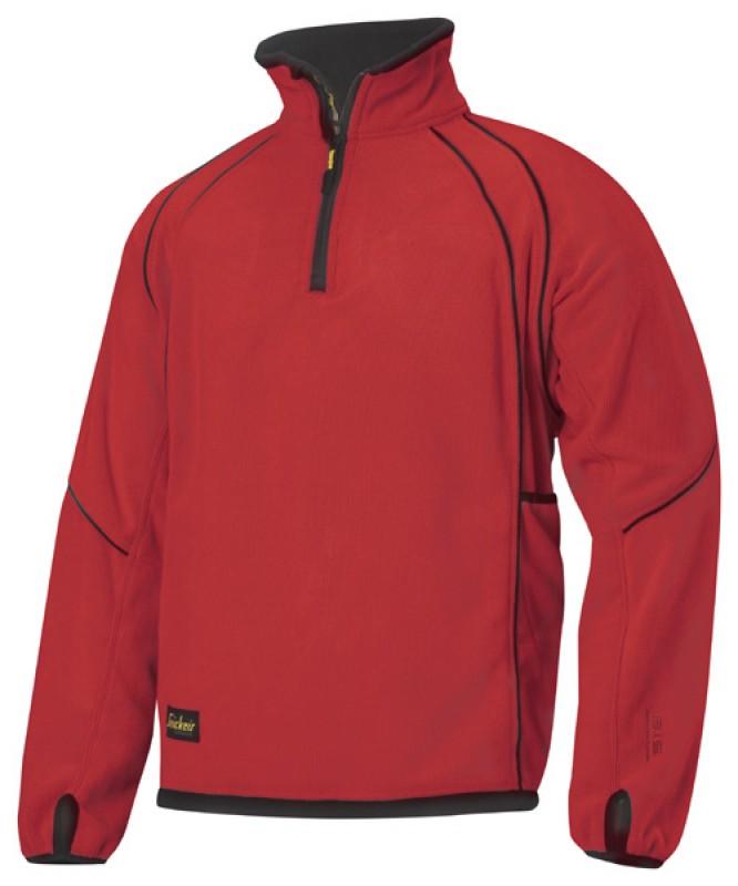 Bunda fleeceová na 1/2 zips 8008, červená čilli - čierna