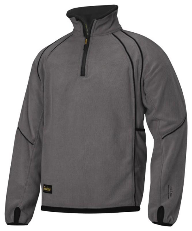 Bunda fleeceová na 1/2 zips 8008, ocelovo šedá - čierna