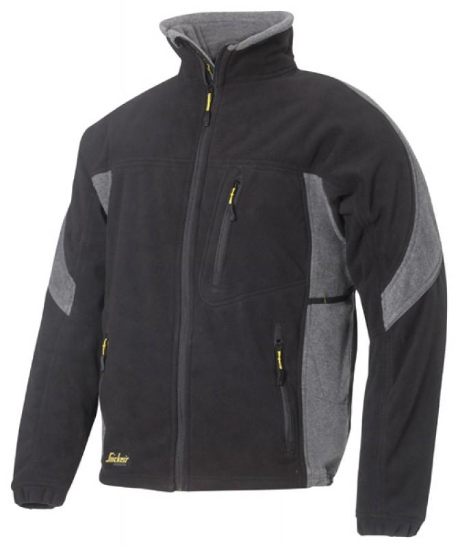 Bunda fleeceová vetruodolná na zips 8010, čierna - šedá