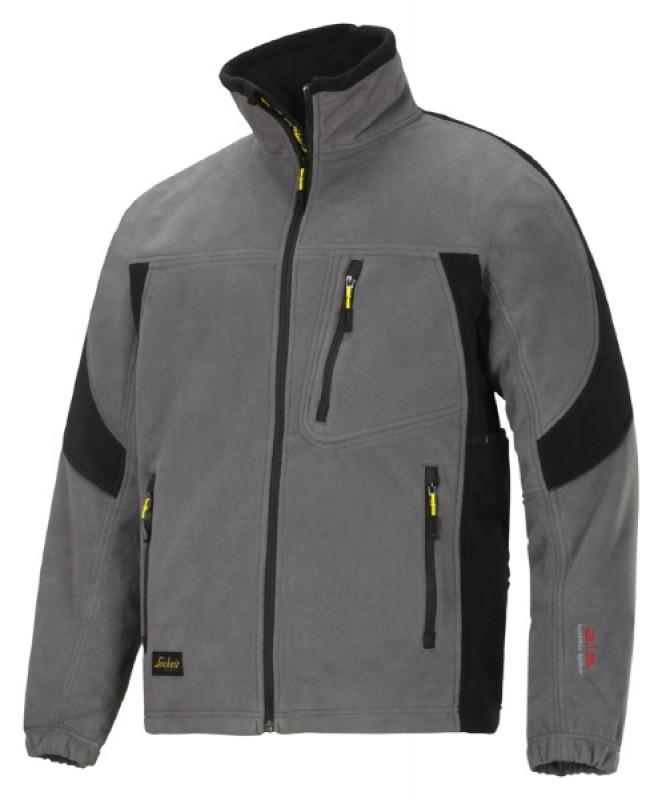 Bunda fleeceová vetruodolná na zips 8010, šedá - čierna