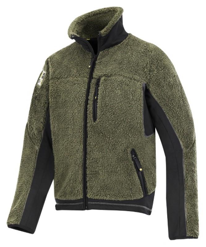 Bunda fleeceová Baránok na zips 8011, olivovo zelená - čierna