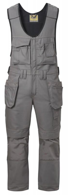 Nohavice Canvas + ™ s náprsenkou remeselnícke s HP 0214, šedá - šedá