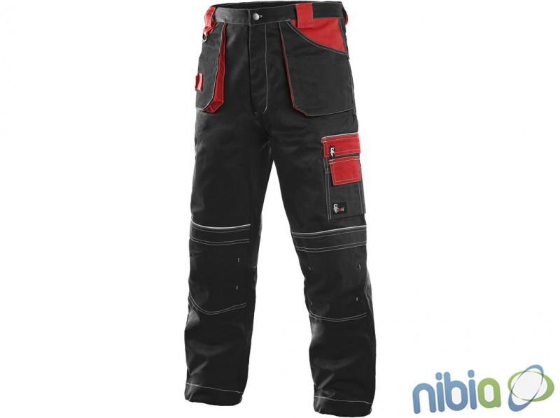 Pracovné nohavice TEODOR červeno-čierne zateplené