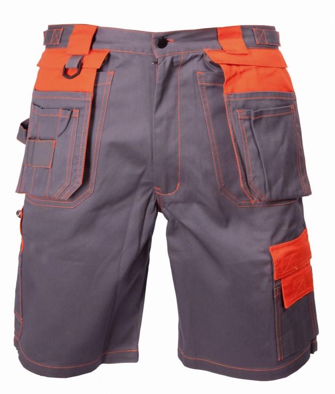 Krátke monterkové nohavice DAVID, Šedo-oranžová