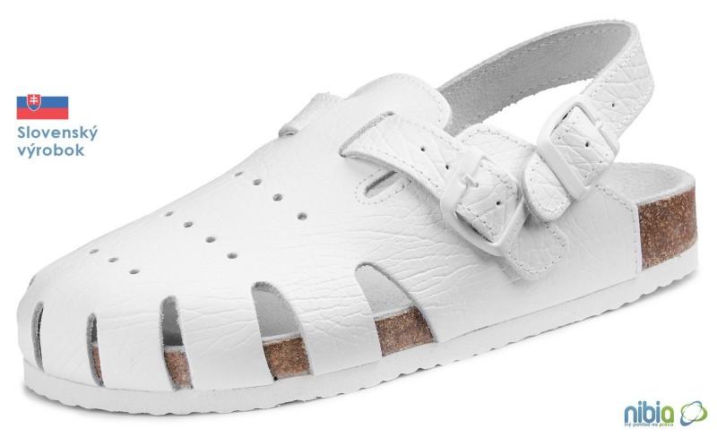e6a4739ad178 Ortopedická obuv korková biela s dvomi prackami Nibia.sk ®