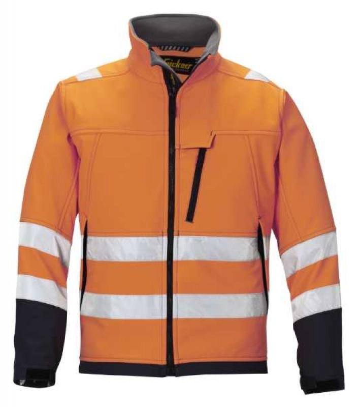Bunda Soft Shell, reflex EN 471 tr.3 1213, oranžová reflexná - ocelovo šedá