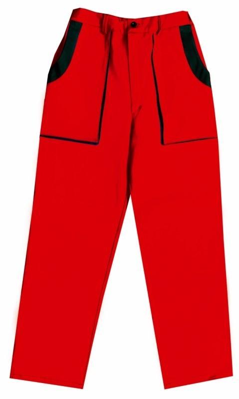 Predĺžené nohavice JOSEF do pásu červeno-čierne monterkové
