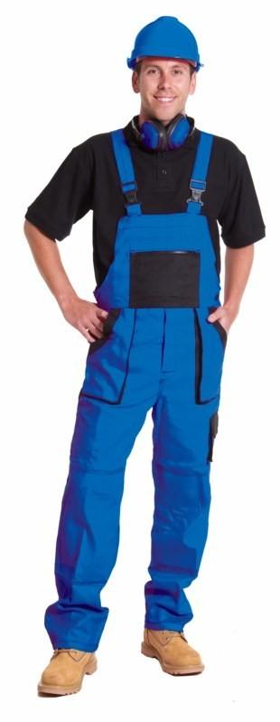 Nohavice ROBIN s náprsenkou modro-čierne