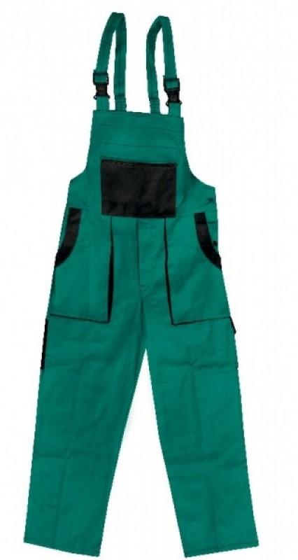 Nohavice ROBIN  s náprsenkou zeleno-čierne predĺžené