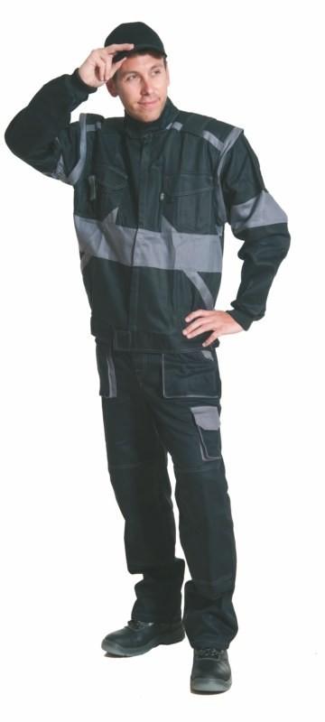 Nohavice ROBIN s náprsenkou čierno-šedé