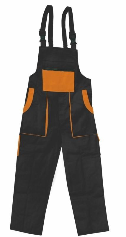 Pracovné nohavice ROBIN s náprsenkou čierno-oranžové