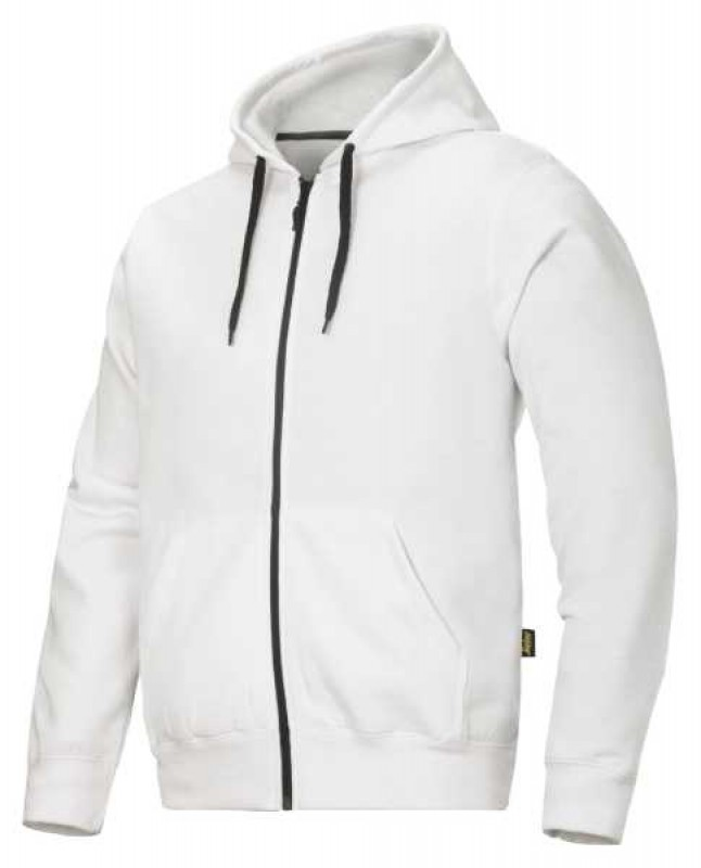 Mikina Classic s kapucňou, na zipss 2801, biela