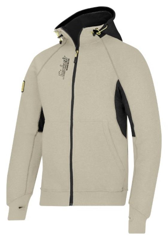 Mikina s kapucňou a logom, na zips 2816, khaki - čierna