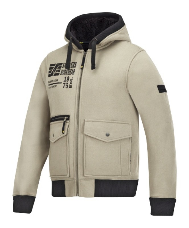 Mikina Baránok s kapucňou, na zips 2817, khaki
