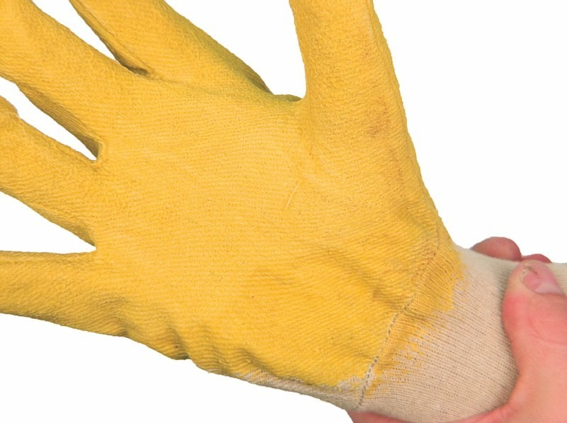 Rukavice DETA polomáčané v žltom latexe