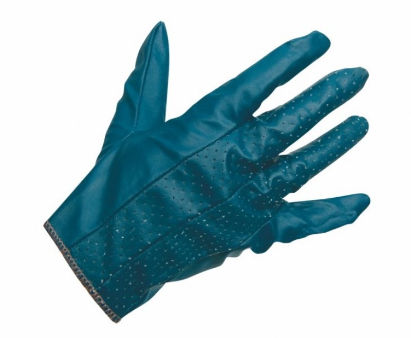 Rukavice impregnované v modrom nitrile perforované