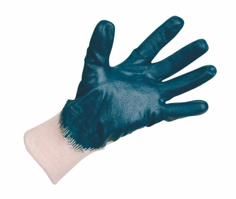 Pracovné rukavice HYLITE máčané v modrom nitrile