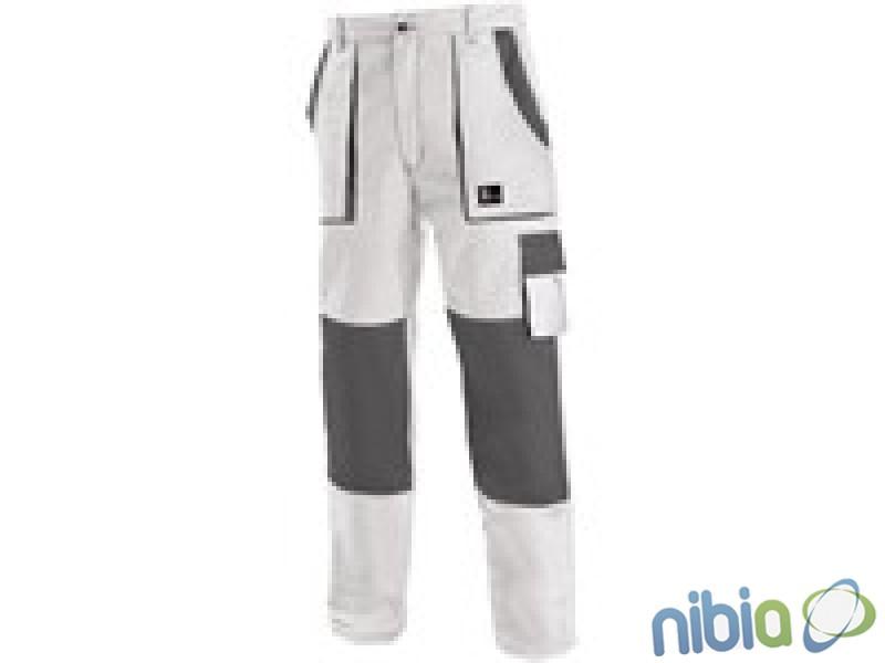 Monterkové nohavice JOSEF do pásu bielo-šedé