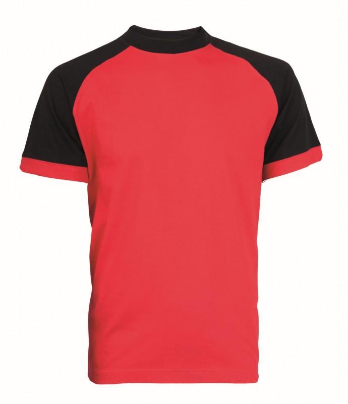 Tričko OLIVER krátke rukávy, červeno-čierna