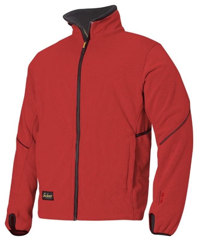 Bunda fleeceová na zips 8009, červená čilli - čierna