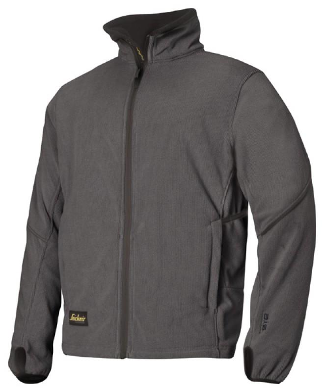Bunda fleeceová na zips 8009, ocelovo šedá - čierna