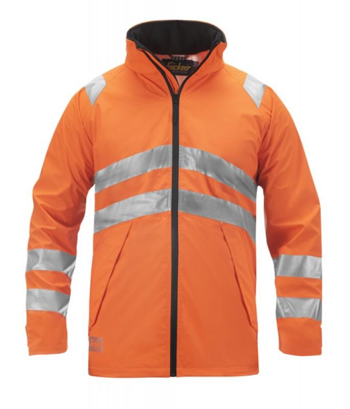 Bunda PU do dažďa, reflex EN 471 tr.3 9063, oranžová reflexná