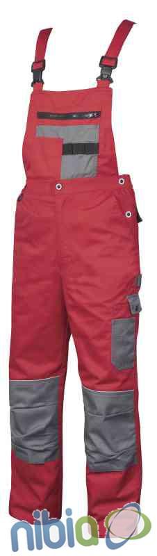 Monterkové nohavice s náprsenkou 2STRONG 03 – červeno-šedá